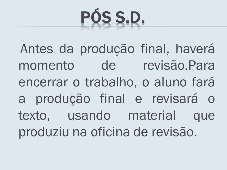 Antes da produção final, haverá momento de revisão.Para encerrar o trabalho, o aluno fará a produção final e revisará o texto, usando material que pro