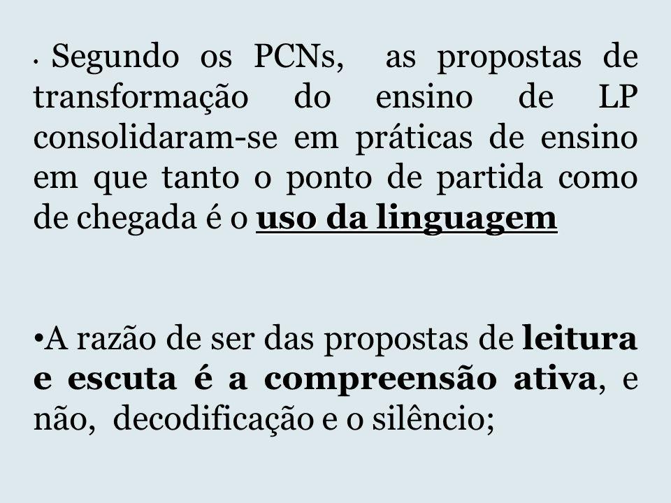 uso da linguagem Segundo os PCNs, as propostas de transformação do ensino de LP consolidaram-se em práticas de ensino em que tanto o ponto de partida