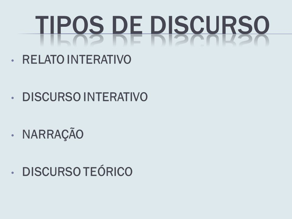 RELATO INTERATIVO DISCURSO INTERATIVO NARRAÇÃO DISCURSO TEÓRICO