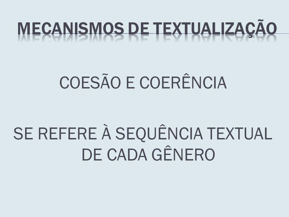 COESÃO E COERÊNCIA SE REFERE À SEQUÊNCIA TEXTUAL DE CADA GÊNERO