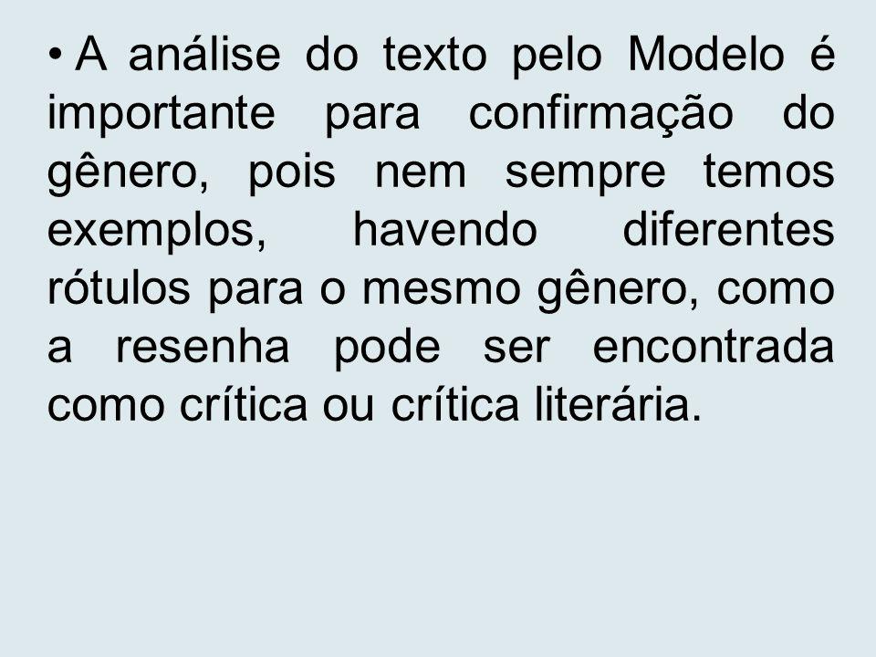 A análise do texto pelo Modelo é importante para confirmação do gênero, pois nem sempre temos exemplos, havendo diferentes rótulos para o mesmo gênero