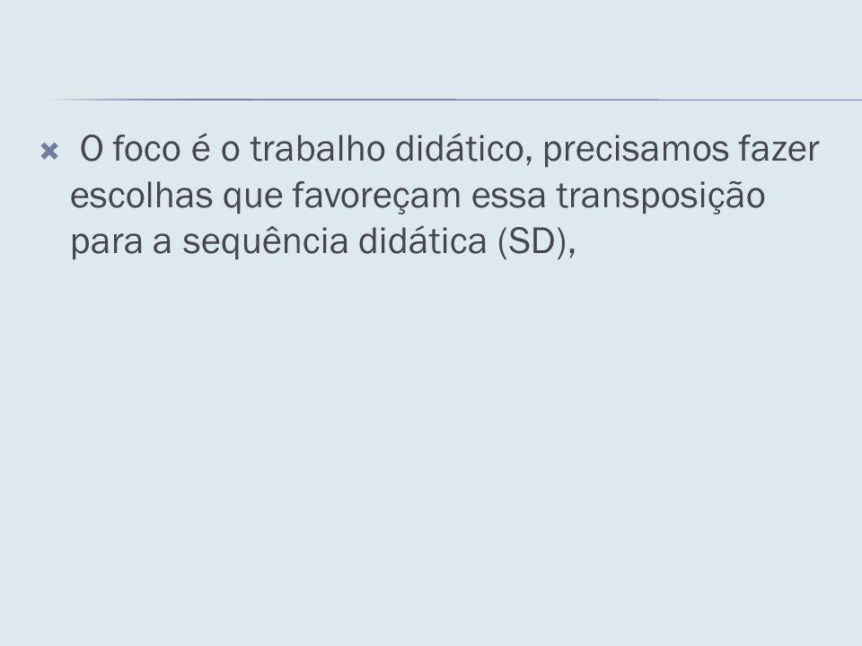 O foco é o trabalho didático, precisamos fazer escolhas que favoreçam essa transposição para a sequência didática (SD),