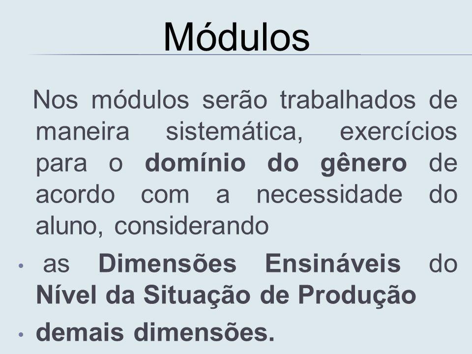 Nos módulos serão trabalhados de maneira sistemática, exercícios para o domínio do gênero de acordo com a necessidade do aluno, considerando as Dimens