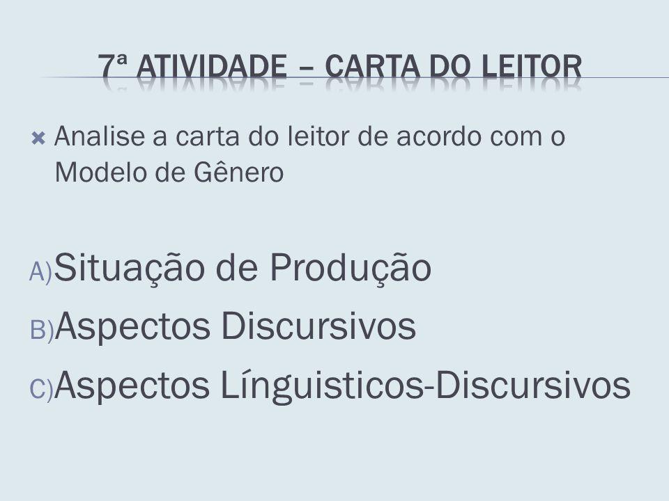 Analise a carta do leitor de acordo com o Modelo de Gênero A) Situação de Produção B) Aspectos Discursivos C) Aspectos Línguisticos-Discursivos