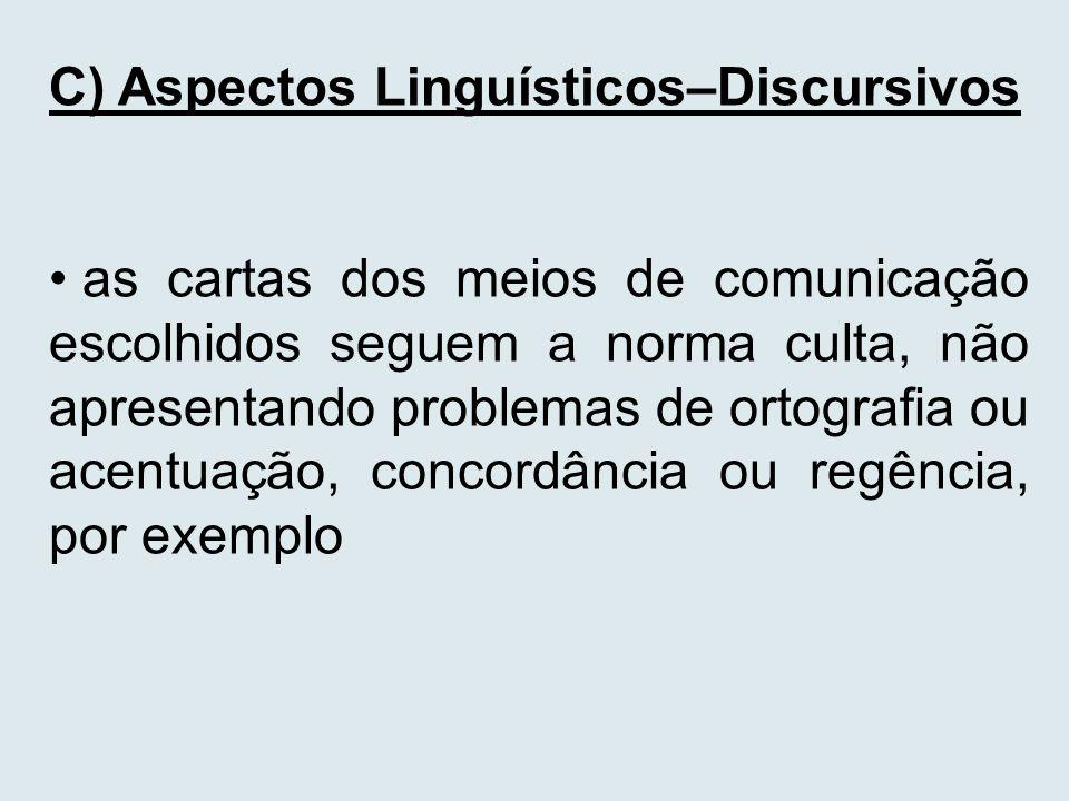 C) Aspectos Linguísticos–Discursivos as cartas dos meios de comunicação escolhidos seguem a norma culta, não apresentando problemas de ortografia ou a