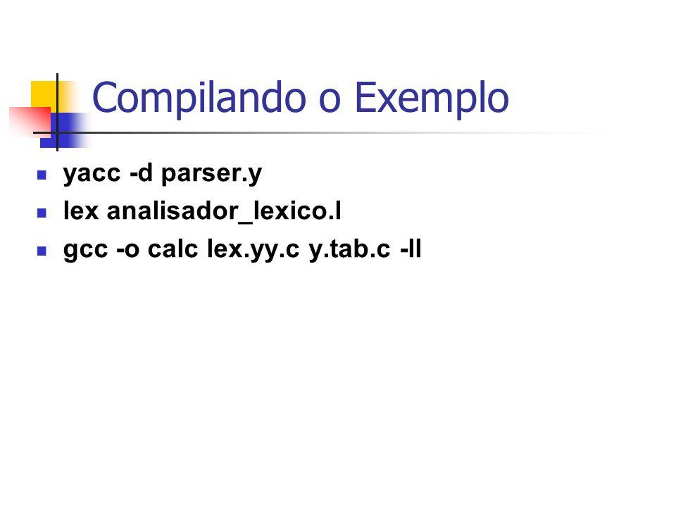 Compilando o Exemplo yacc -d parser.y lex analisador_lexico.l gcc -o calc lex.yy.c y.tab.c -ll