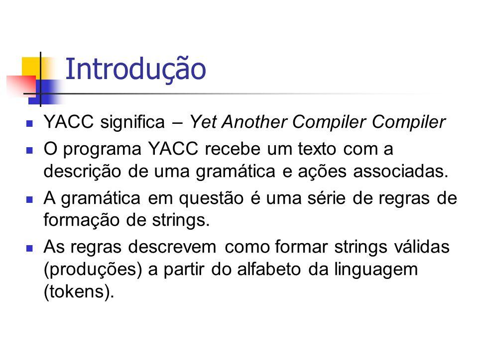 Introdução YACC significa – Yet Another Compiler Compiler O programa YACC recebe um texto com a descrição de uma gramática e ações associadas. A gramá
