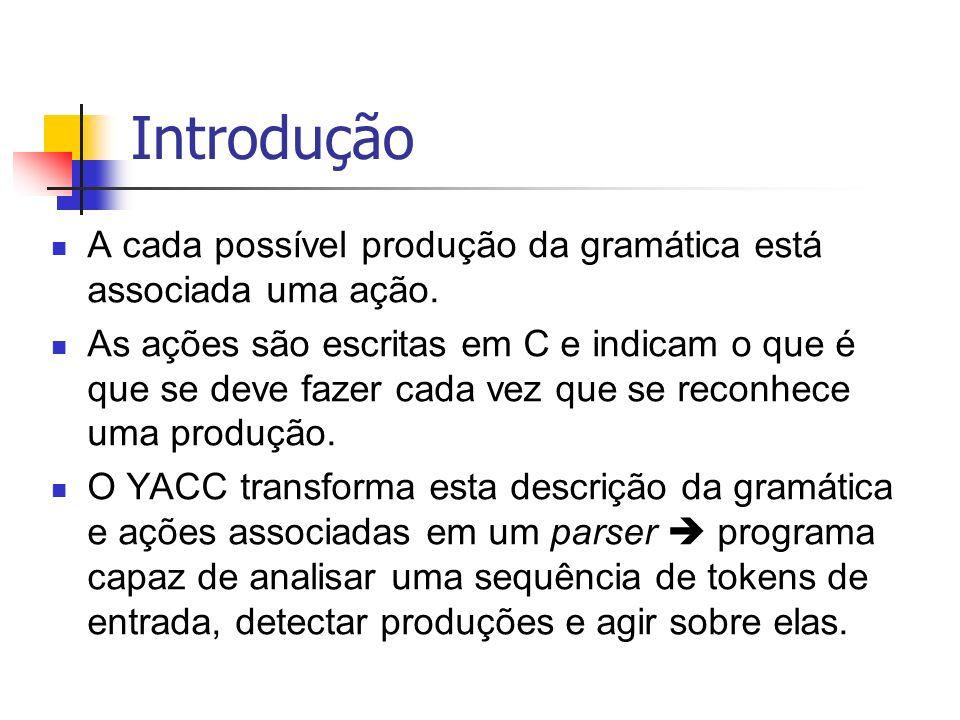 Introdução A cada possível produção da gramática está associada uma ação. As ações são escritas em C e indicam o que é que se deve fazer cada vez que