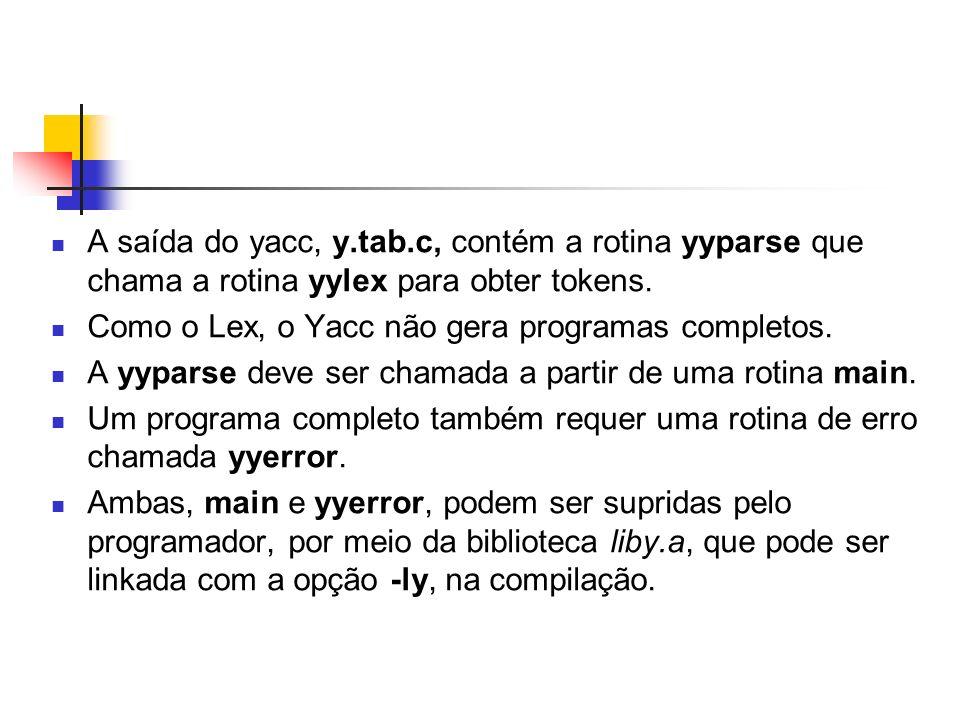 Exemplo (cat analisador_lexico.l) %{ #include #include y.tab.h extern int yylval; %} % addreturn (ADD); subreturn (SUB); [0-9]+{yylval = atoi(yytext); return NUMBER;}; 0x[0-9a-fA-F]+{sscanf(yytext, %x , &yylval); return NUMBER;}; \(return (OPEN_PARENTHESIS); \)return (CLOSE_PARENTHESIS); \nreturn (END_OF_LINE);.; %