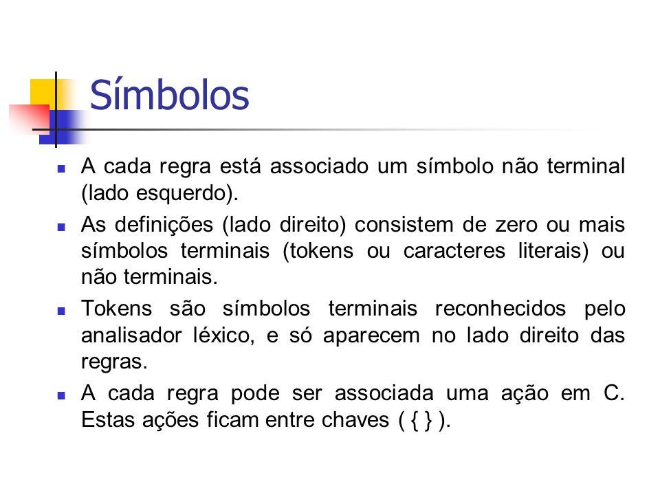 Símbolos A cada regra está associado um símbolo não terminal (lado esquerdo). As definições (lado direito) consistem de zero ou mais símbolos terminai