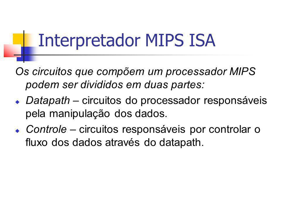 Interpretador MIPS ISA Os circuitos que compõem um processador MIPS podem ser divididos em duas partes: Datapath – circuitos do processador responsáve