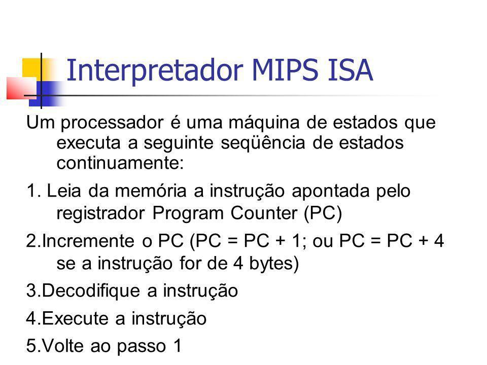 Interpretador MIPS ISA Um processador é uma máquina de estados que executa a seguinte seqüência de estados continuamente: 1. Leia da memória a instruç