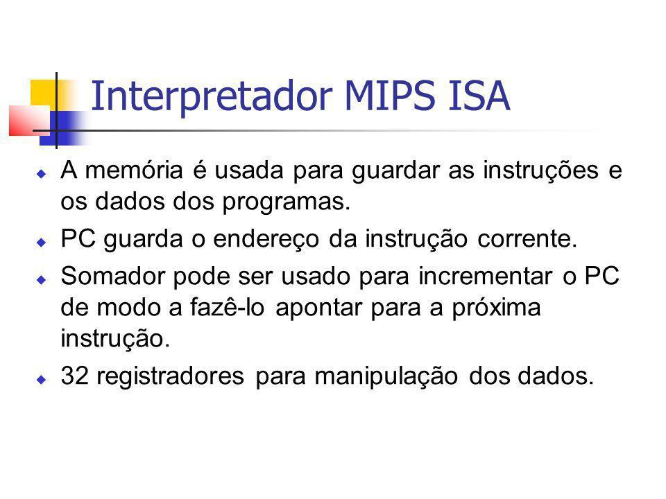 Interpretador MIPS ISA A memória é usada para guardar as instruções e os dados dos programas. PC guarda o endereço da instrução corrente. Somador pode