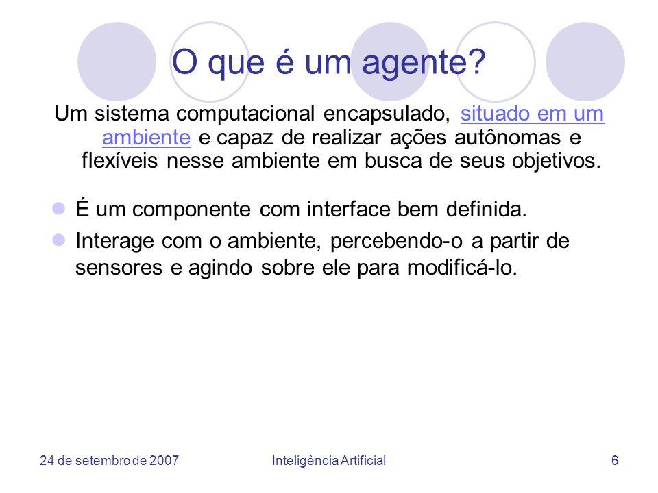 24 de setembro de 2007Inteligência Artificial27 Modelo de Agentes