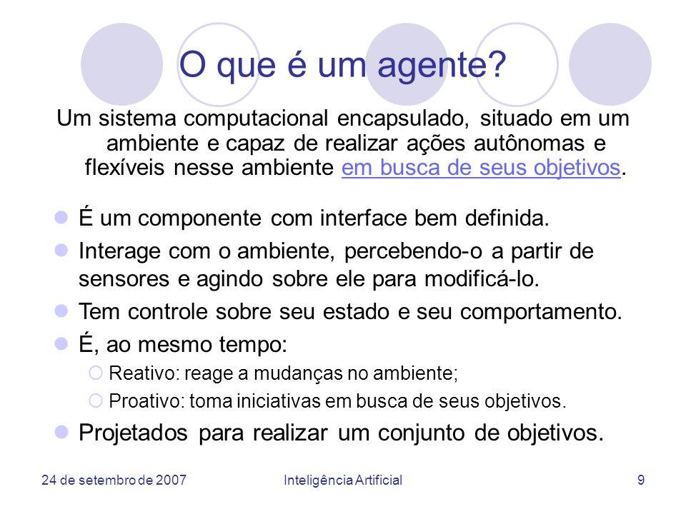 24 de setembro de 2007Inteligência Artificial40 Diagramas de Colaboracão Agentes D/ Devedor D/ Fornecedor A/ Cliente B/ Fornecedor C/ Concorrente B/ Analizador do concorrente C/ Fornecedor1 A/ Negociador C/ Fornecedor2 13: entrega 8: confirma 11: entrega 1.3: requisita 1.2: requisita 1.1: requisita 4: > 5: proposta 7: confirma 12: requisita 14: 6: 9: falha 10: recusa 2: questiona 3: >