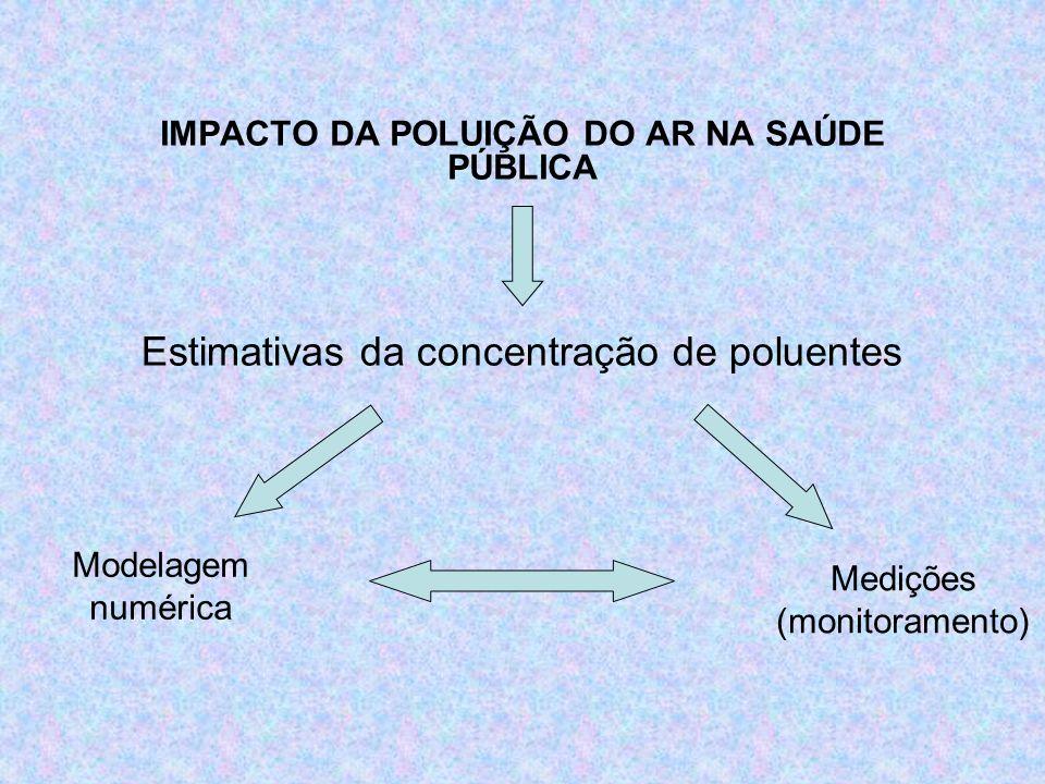 IMPACTO DA POLUIÇÃO DO AR NA SAÚDE PÚBLICA Estimativas da concentração de poluentes Medições (monitoramento) Modelagem numérica