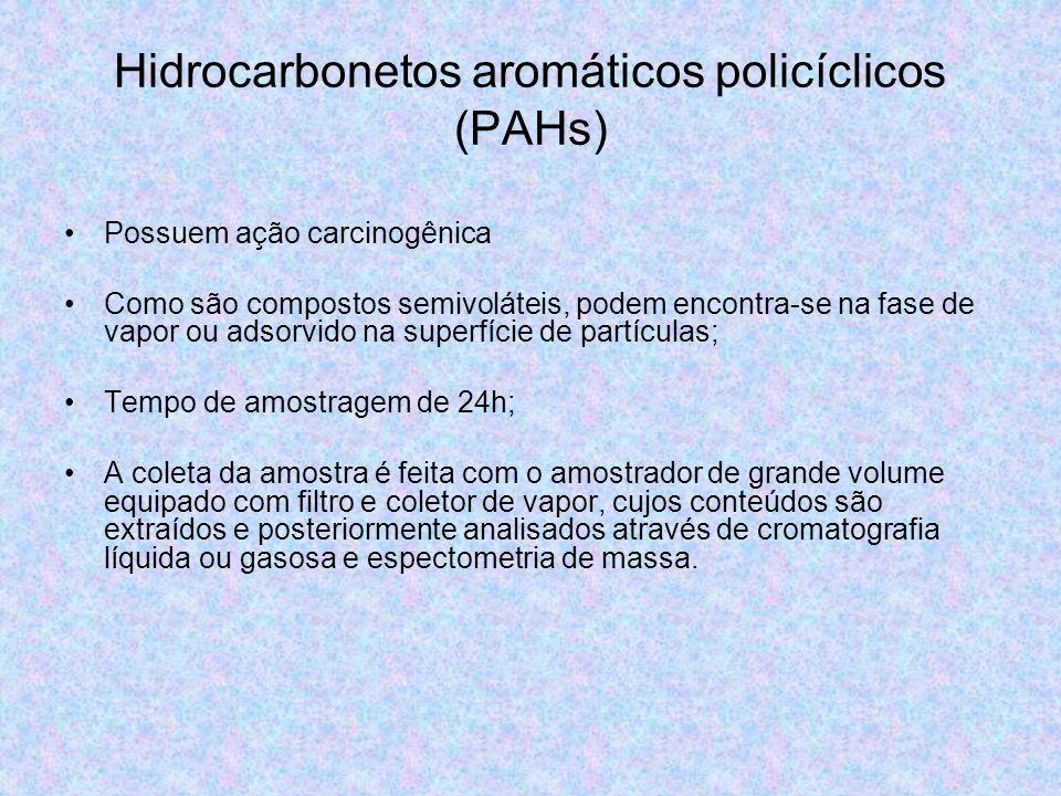 Hidrocarbonetos aromáticos policíclicos (PAHs) Possuem ação carcinogênica Como são compostos semivoláteis, podem encontra-se na fase de vapor ou adsor
