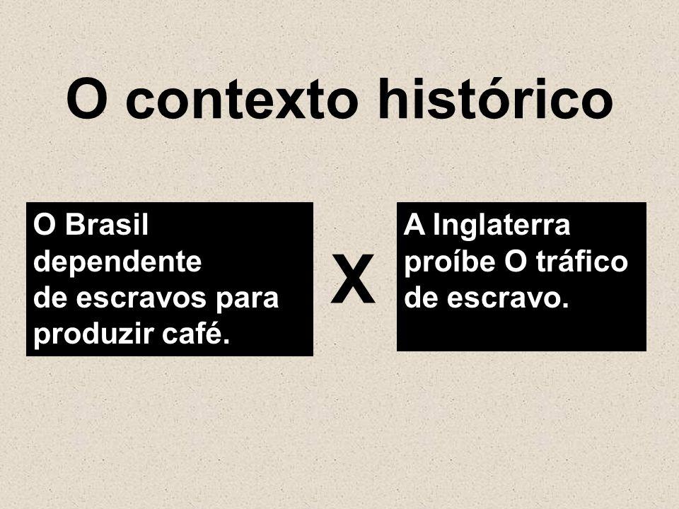 O contexto histórico O Brasil dependente de escravos para produzir café. A Inglaterra proíbe O tráfico de escravo. Χ