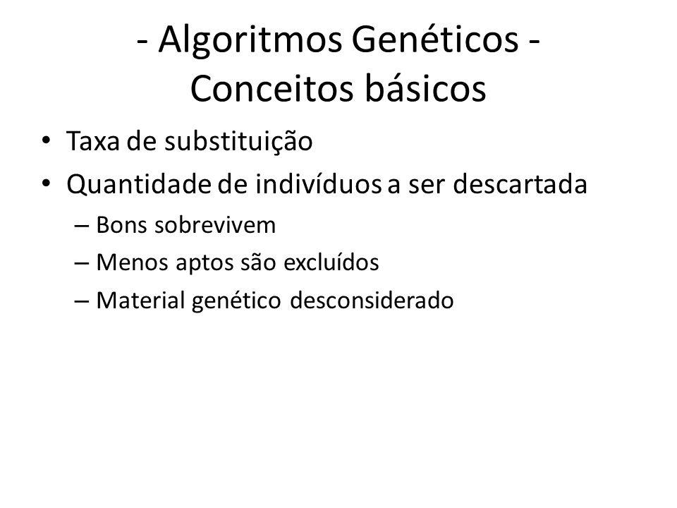 - Algoritmos Genéticos - Conceitos básicos Taxa de substituição Quantidade de indivíduos a ser descartada – Bons sobrevivem – Menos aptos são excluídos – Material genético desconsiderado