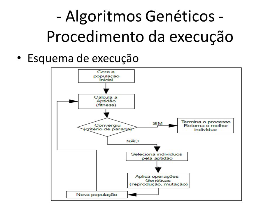 - Algoritmos Genéticos - Procedimento da execução Esquema de execução