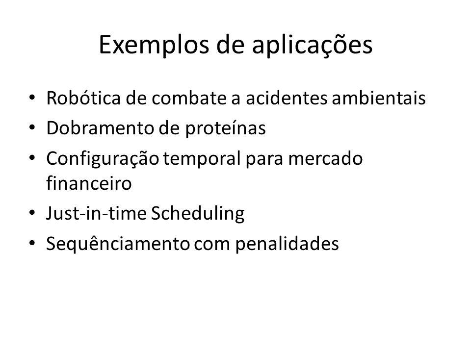 Exemplos de aplicações Robótica de combate a acidentes ambientais Dobramento de proteínas Configuração temporal para mercado financeiro Just-in-time Scheduling Sequênciamento com penalidades