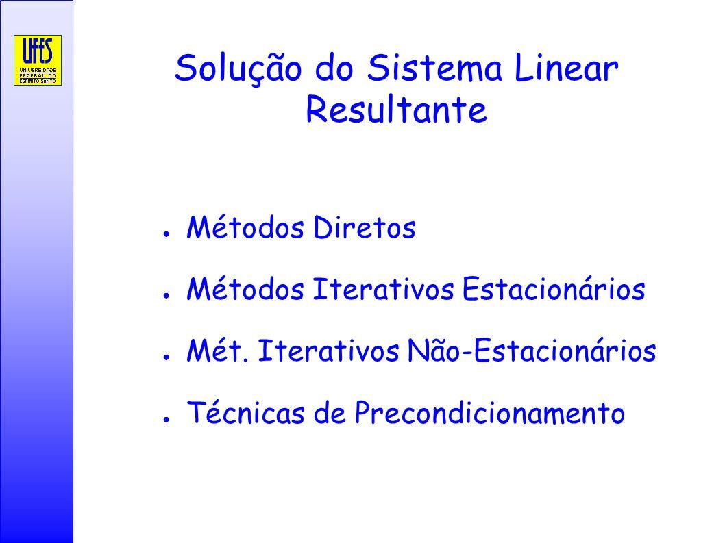 Solução do Sistema Linear Resultante Métodos Diretos Métodos Iterativos Estacionários Mét. Iterativos Não-Estacionários Técnicas de Precondicionamento