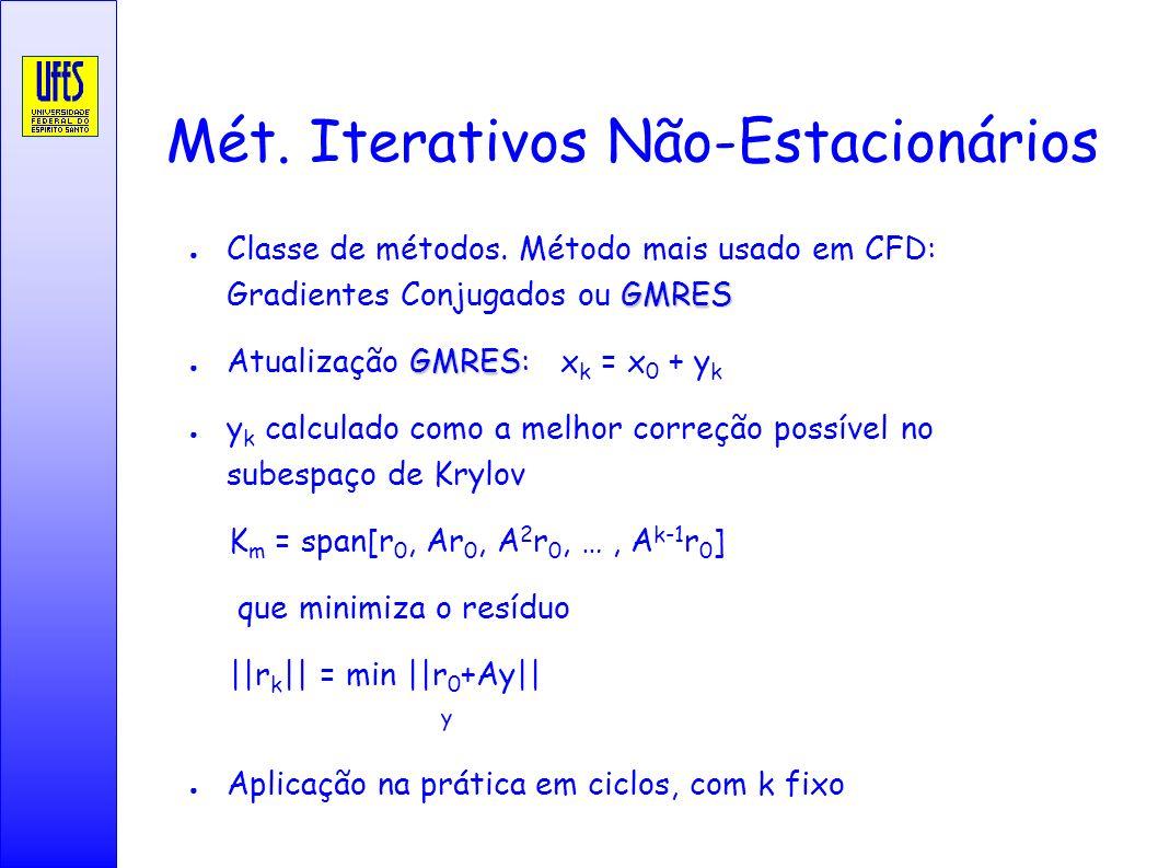 Mét. Iterativos Não-Estacionários GMRES Classe de métodos. Método mais usado em CFD: Gradientes Conjugados ou GMRES GMRES Atualização GMRES: x k = x 0