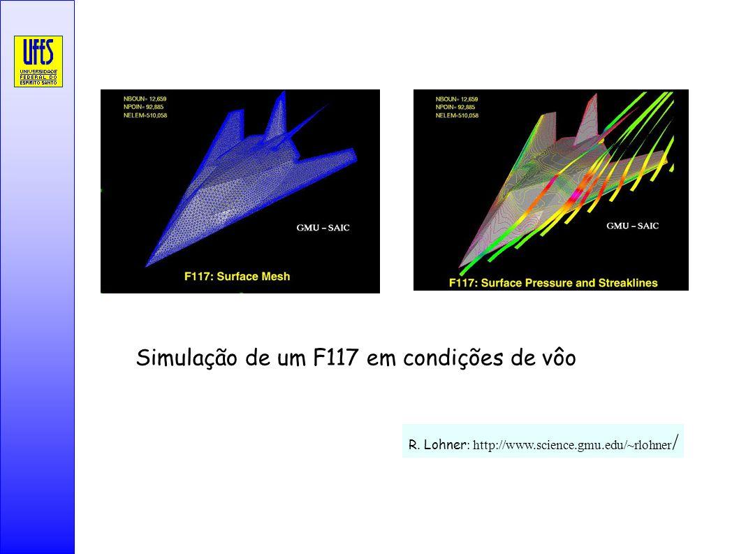R. Lohner : http://www.science.gmu.edu/~rlohner / Simulação de um F117 em condições de vôo