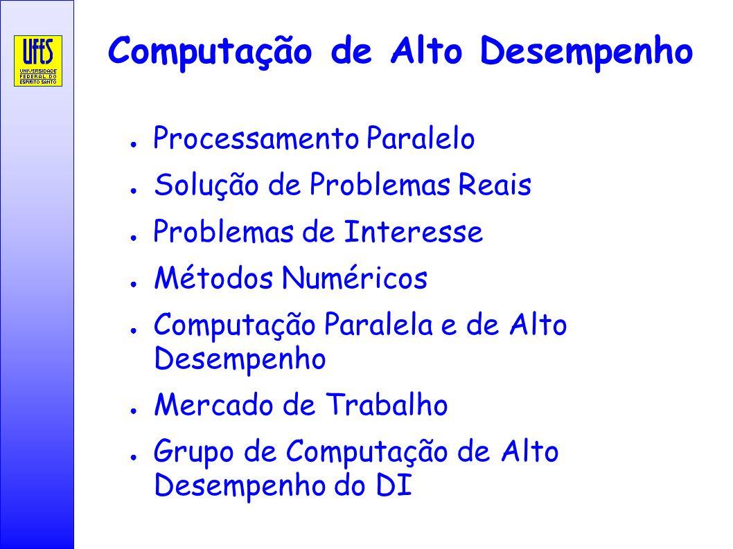 Computação de Alto Desempenho Processamento Paralelo Solução de Problemas Reais Problemas de Interesse Métodos Numéricos Computação Paralela e de Alto