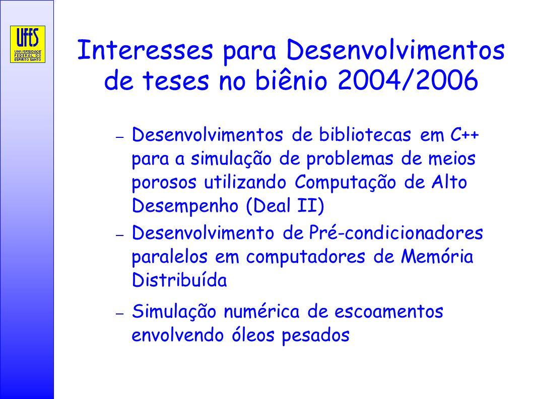 Interesses para Desenvolvimentos de teses no biênio 2004/2006 – Desenvolvimentos de bibliotecas em C++ para a simulação de problemas de meios porosos