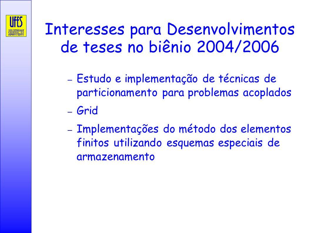 Interesses para Desenvolvimentos de teses no biênio 2004/2006 – Estudo e implementação de técnicas de particionamento para problemas acoplados – Grid