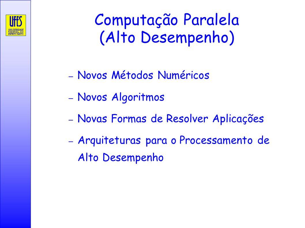 Computação Paralela (Alto Desempenho) – Novos Métodos Numéricos – Novos Algoritmos – Novas Formas de Resolver Aplicações – Arquiteturas para o Process