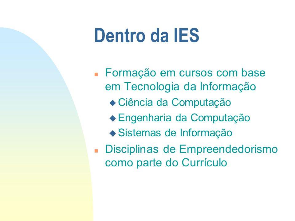 Dentro da IES n Formação em cursos com base em Tecnologia da Informação u Ciência da Computação u Engenharia da Computação u Sistemas de Informação n