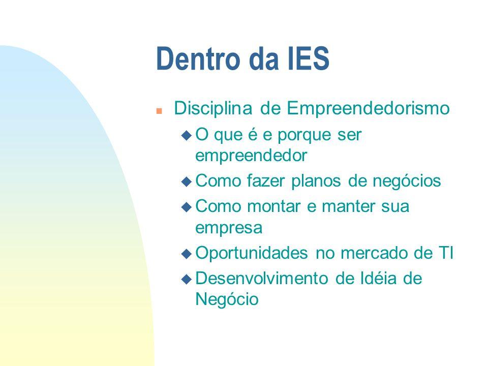 Dentro da IES n Laboratório do Gene u Avaliação de Idéias de Negócio pela IES u Espaço e Equipamentos para Desenvolvimento de Idéias Selecionadas e Protótipos u Ambiente apropriado para o desenvolvimento de idéias (discussão com colegas e professores)