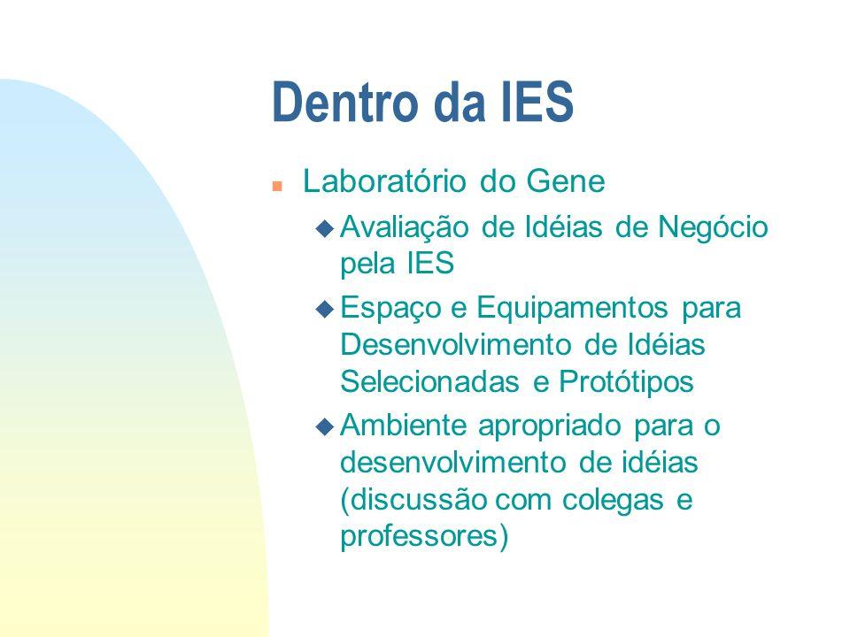 Dentro da IES n Laboratório do Gene u Avaliação de Idéias de Negócio pela IES u Espaço e Equipamentos para Desenvolvimento de Idéias Selecionadas e Pr