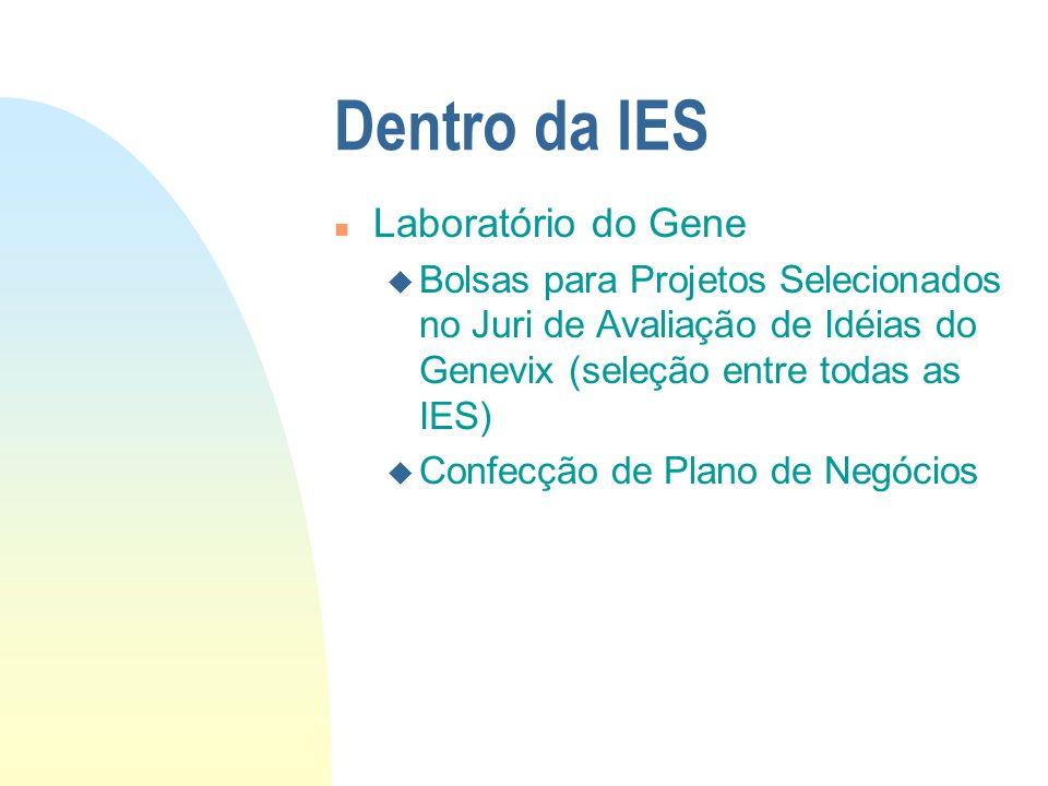 Dentro da IES n Laboratório do Gene u Bolsas para Projetos Selecionados no Juri de Avaliação de Idéias do Genevix (seleção entre todas as IES) u Confe