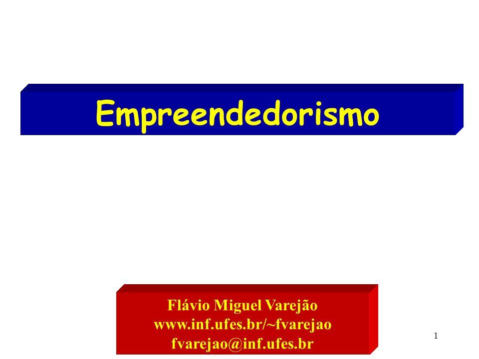 1 Empreendedorismo Flávio Miguel Varejão www.inf.ufes.br/~fvarejao fvarejao@inf.ufes.br