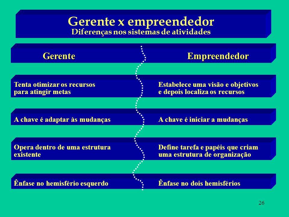 26 Gerente x empreendedor Diferenças nos sistemas de atividades GerenteEmpreendedor Tenta otimizar os recursos Estabelece uma visão e objetivos para a