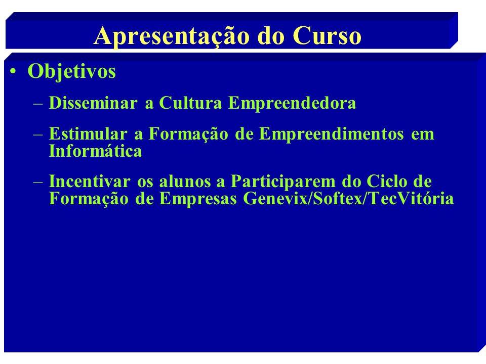 Apresentação do Curso Objetivos –Disseminar a Cultura Empreendedora –Estimular a Formação de Empreendimentos em Informática –Incentivar os alunos a Pa