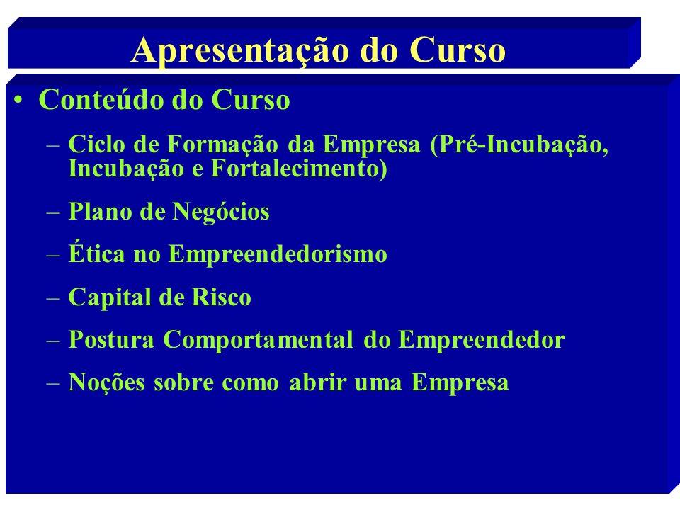 Apresentação do Curso Conteúdo do Curso –Ciclo de Formação da Empresa (Pré-Incubação, Incubação e Fortalecimento) –Plano de Negócios –Ética no Empreen