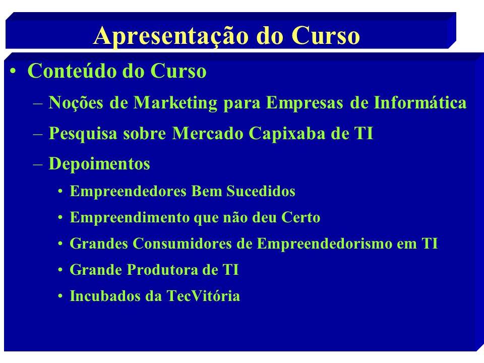 Apresentação do Curso Conteúdo do Curso –Noções de Marketing para Empresas de Informática –Pesquisa sobre Mercado Capixaba de TI –Depoimentos Empreend
