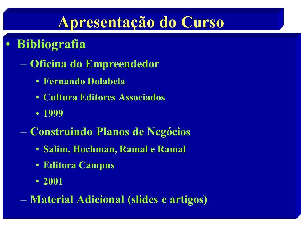 Apresentação do Curso Bibliografia –Oficina do Empreendedor Fernando Dolabela Cultura Editores Associados 1999 –Construindo Planos de Negócios Salim,