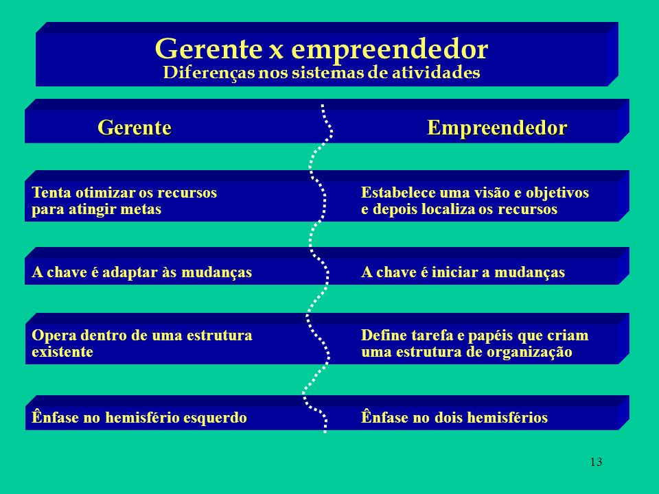 13 Gerente x empreendedor Diferenças nos sistemas de atividades GerenteEmpreendedor Tenta otimizar os recursos Estabelece uma visão e objetivos para a