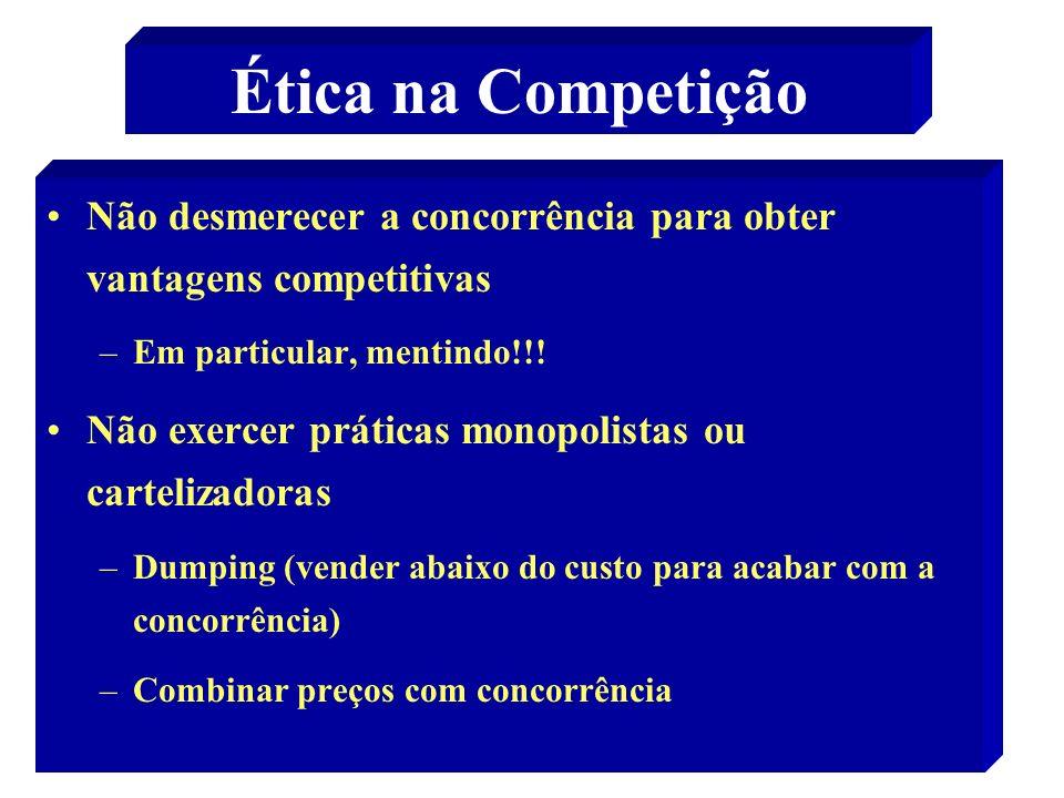 20 Ética na Competição Não desmerecer a concorrência para obter vantagens competitivas –Em particular, mentindo!!! Não exercer práticas monopolistas o