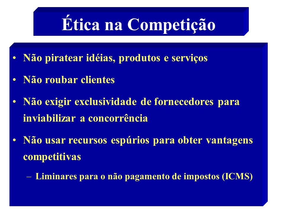 21 Ética na Competição Não piratear idéias, produtos e serviços Não roubar clientes Não exigir exclusividade de fornecedores para inviabilizar a conco