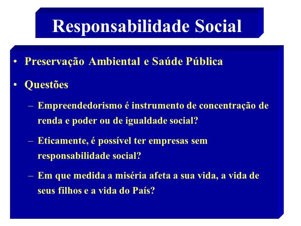 23 Responsabilidade Social Preservação Ambiental e Saúde Pública Questões –Empreendedorismo é instrumento de concentração de renda e poder ou de igualdade social.