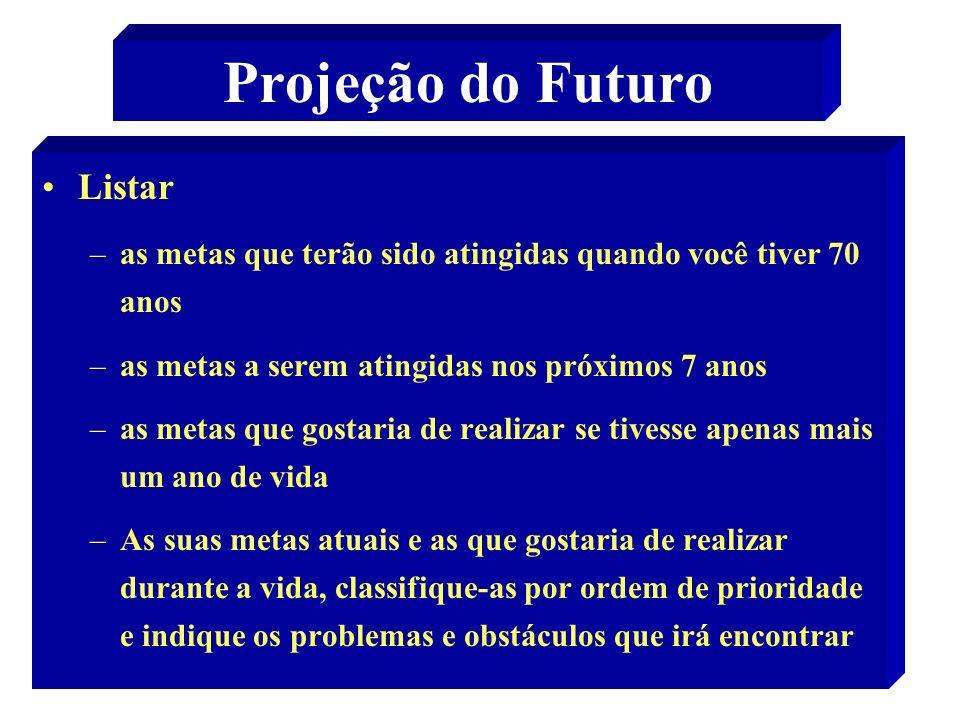 29 Projeção do Futuro Listar –as metas que terão sido atingidas quando você tiver 70 anos –as metas a serem atingidas nos próximos 7 anos –as metas qu