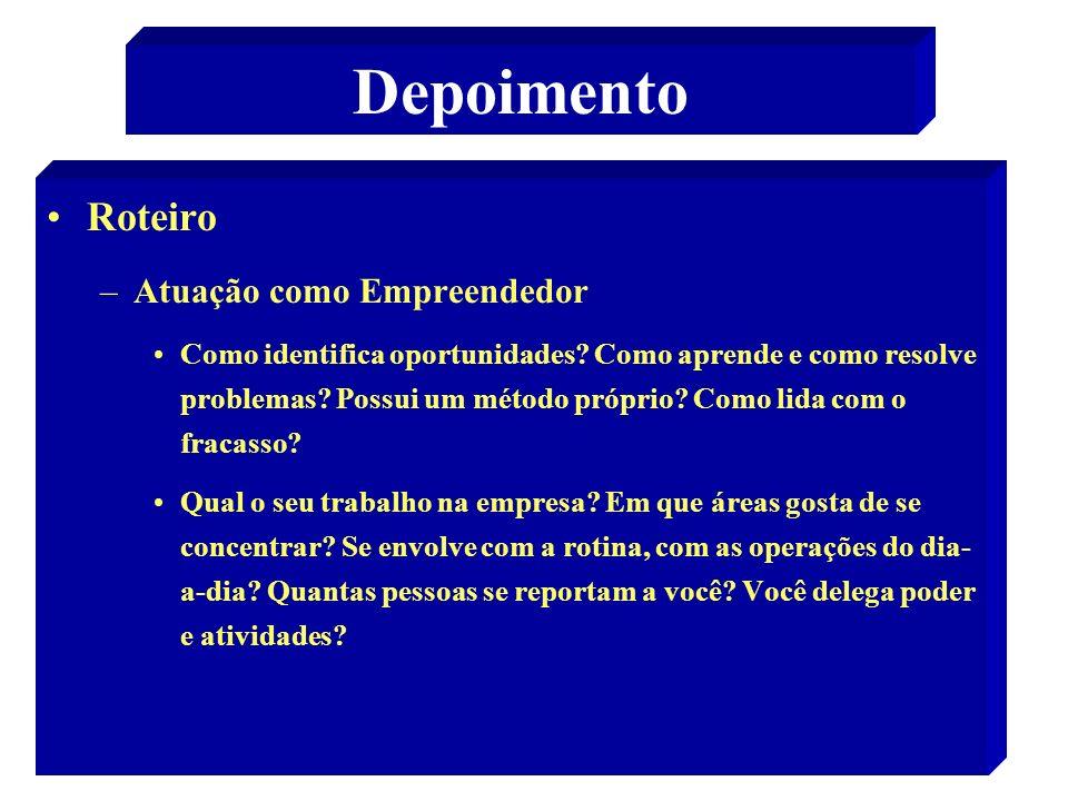 33 Depoimento Roteiro –Atuação como Empreendedor Como identifica oportunidades.