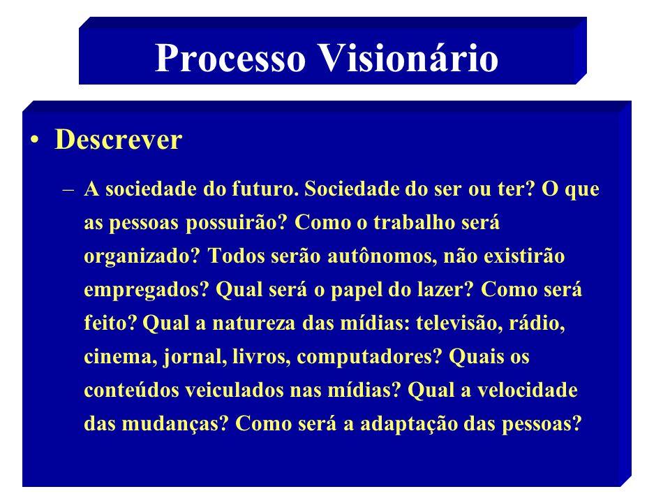 45 Processo Visionário Descrever –A sociedade do futuro. Sociedade do ser ou ter? O que as pessoas possuirão? Como o trabalho será organizado? Todos s
