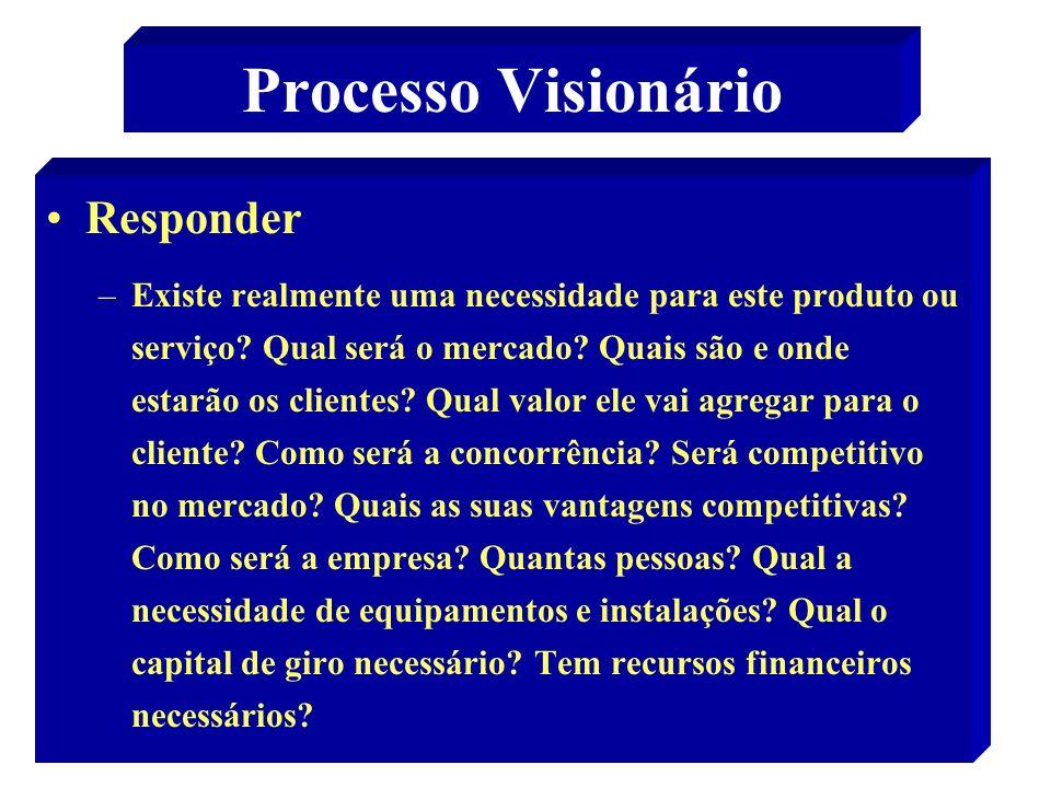 47 Processo Visionário Responder –Existe realmente uma necessidade para este produto ou serviço? Qual será o mercado? Quais são e onde estarão os clie